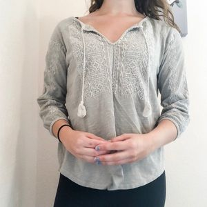 Lucky Brand Gray Embroidered Tassel Top